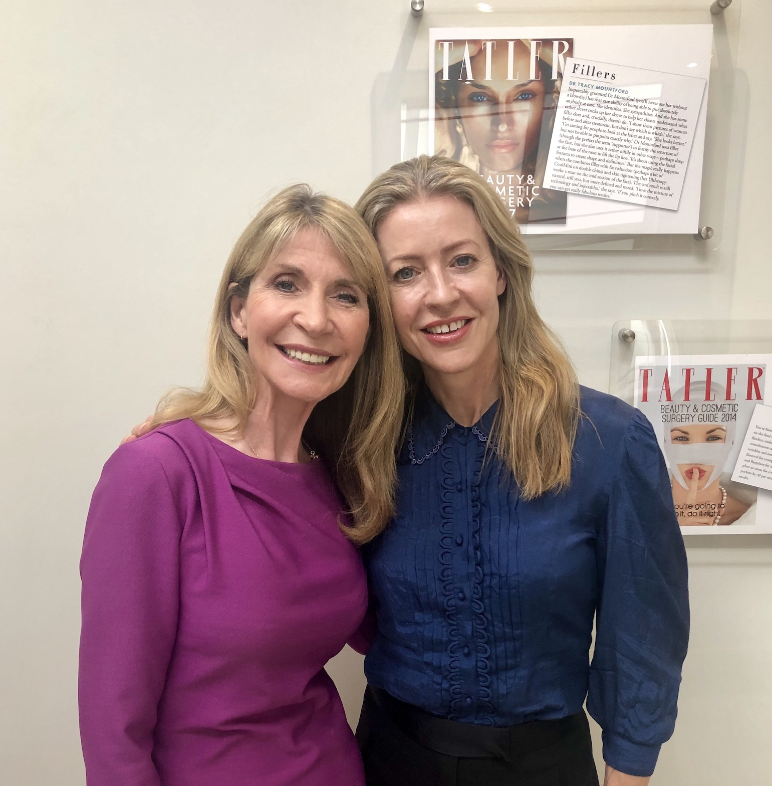 Dr Tracy Mountford and Alice Hart-Davis at The Cosmetic Skin Clinic in Devonshire Place, London